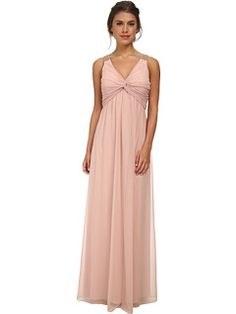 Calvin Klein Front Knot and Beading On Shoulder Gown CD5B1794