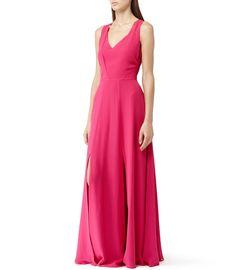 Alice Maxi Raspberry Silk Maxi Dress - REISS