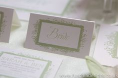 Wedding stationery place names in peppermint green. Personalised with your guests names.  www.fuschiadesigns.co.uk