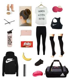 """What's in my dance bag"" by letnik-julija on Polyvore featuring Boohoo, Kate Spade, NIKE, Wolford, adidas, Goody, Eos, ToeSox, Tangle Teezer and GHD"