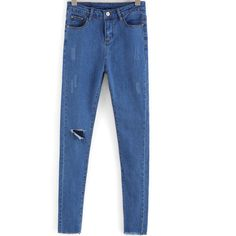 SheIn(sheinside) Blue Ripped Slim Denim Pant (€14) ❤ liked on Polyvore featuring jeans, blue, destroyed skinny jeans, destroyed jeans, ripped denim jeans, distressed skinny jeans and ripped jeans