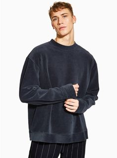Navy Corduroy and Velour Sweatshirt - Men's Hoodies & Sweatshirts - Clothing - TOPMAN