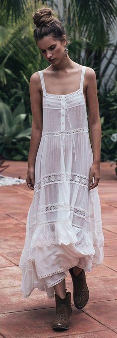 #summer ##fashion #lovely #outfits | White Boho Maxi Dress