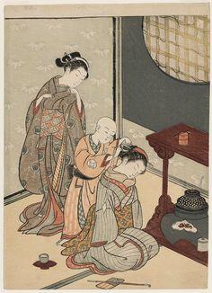 坐鋪八景 台子の夜雨 Night Rain at the Double-Shelf Stand, from the series Eight Views of the Parlor (Zashiki hakkei)