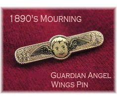 10K Gold Filled ~ RARE 1890's Mourning Guardian Angel Face Wings Enamel Pin - $149  www.FindMeTreasure.com