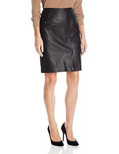 Anne-Klein-Womens-Faux-Wrap-Leather-Skirt