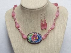 Multi Color Enamel Pendant Necklace Earrings Pink by jazzybeads