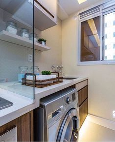 Luxury Home Decoration Ideas Kitchen Design Small, Home, Decor Design, Small Apartments, Small Apartment Interior, Interior Design Kitchen, Washing Machine In Kitchen, Laundry Room Design, Kitchen Design