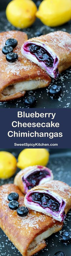 Blueberry Cheesecake Chimichangas Do you like sweet chimichangas? Chimichangas with cream cheese and blueberry sauce – a recipe for perfectly tasty Blueberry Cheesecake Chimichangas. Brownie Desserts, Mini Desserts, Just Desserts, Delicious Desserts, Yummy Food, Deep Fried Desserts, Blueberry Recipes, Blueberry Cheesecake, Cheesecake Recipes