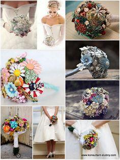 Trendy w ślubnych bukietach - broszki