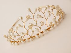Pearl Gold Bridal Tiara Gold Swarovski Crystal Wedding Headdress Bridesmaid Hair Accessories Handmade Etsy UK Tiaras