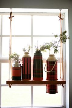 Recycle thermos bottles  ~Decorate your Windows