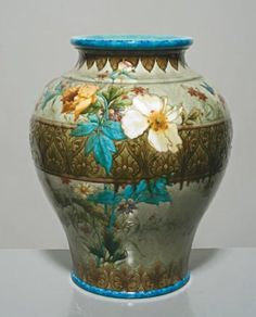 Theodore Deck (1823-1891) Important baluster form vase with hemmed collar…