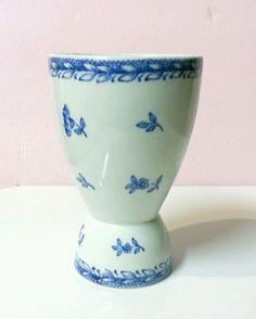 "Arabia Finland Double Egg Cup Holder FINN FLOWER BLUE 4"" Vintage  #Arabia"