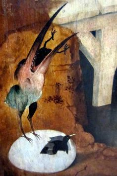 The Eat-Beak Freak hatches blackbirds by standing on their eggs. Hiëronymus Bosch. - The Temptation of St. Anthony (detail)