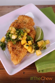 Transform ordinary chicken tenders into something spectacular with Clinton Kelly's delicious Macadamia Crusted Chicken with Mango-Citrus Salsa recipe! #TheChew