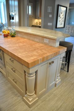 Thick Butcher Block countertop for the island, via House of Fifty blog
