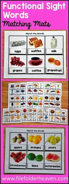 These Functional Sight Words Matching Mats provide a versatile way for students to practice with functional sight words. This set includes 10 different matching mats that focus on food or grocery words. On each mat, students match the correct functional sight word to each real photo. There are two levels of matching provided for differentiation. Level 1 includes visual support. Level two includes words only. Use these activities in centers and workstations assembled as is, assembled into bi