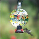 The Carnival Hummingbird Feeder - made from recycled glass.