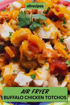 These air fryer buffalo chicken totchos are a quick and easy appetizer recipe! Cook the best buffalo chicken recipe using tater tots, rotisserie chicken breast, salsa, buffalo wing sauce, and ranch dressing. You will love cooking this air fryer chicken recipe for a football tailgate or potluck!