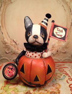Folk Art One of a kind Pumpkin French Bulldog dog Halloween vintage style Primitive HAFAIR Penny Grotz by FolkArtByPenny on Etsy Halloween Items, Dog Halloween, Halloween Town, Halloween Crafts, Creative Pumpkins, Vintage Halloween Decorations, Pumpkin Art, Thing 1, Art Dolls