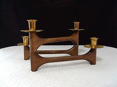 Danish Mid Century Modern Vintage 4 Candle Holder Sculptural Folding Teak Wood