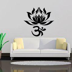 Wall Decal Indian Yoga Namaste Words Lotus Flower Buddha Ganesha Vinyl Sticker Decals Wall Decor Home Interior Design Art Mural MN776