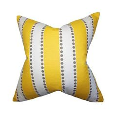 The Pillow Collection Odienne Yellow 18 x 18 Stripes Throw Pillow ($58) ❤ liked on Polyvore featuring home, home decor, throw pillows, the pillow collection, striped accent pillows, yellow accent pillows, yellow toss pillows and yellow throw pillows