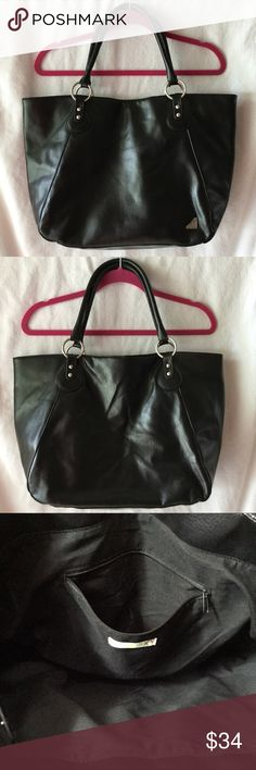 """Fabulous Roxy Tote! This large tote is perfect for the beach, gym or overnight excursion. Excellent like new condition, used 1-3x, shows little to no wear. Features: Faux leather material, inside zip pocket, magnetic snap closure, middle snap to convert to smaller size. Measurements: 13"""" h x 19"""" w flat x 11"""" d at top; 12"""" w x 6"""" d bottom 8.5"""" handle drop. Roxy Bags Totes"""