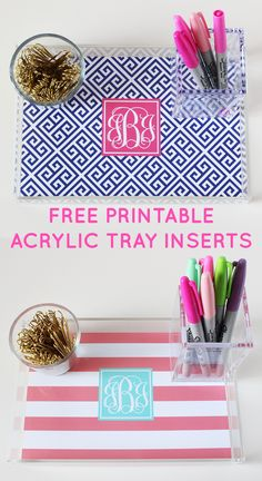 Make your own monogram acrylic tray with these free printable inserts! #freeprintable