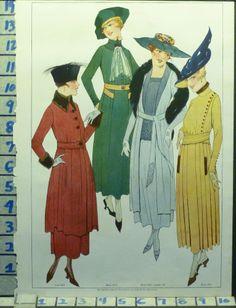 1917 FLAPPER WOMAN DRESS FROCK BLOUSE HAT FASHION STYLE VINTAGE ART AD ## AF19