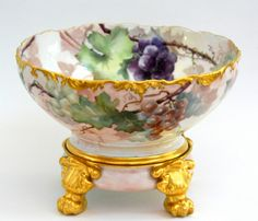 Limoges Hand Painted Grapes Punch Bowl on Paw Footed Plinth Base | eBay