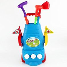 Golf Games Collection | Toddler Golf Set Children Plastic Golf Toys Mini Golf Club Sets For Kids Junior Package Includes 1 Wheel Cart3 Different Golf Clubs3 Balls 2 Practice Holes Blue >>> Click on the image for additional details. Note:It is Affiliate Link to Amazon.