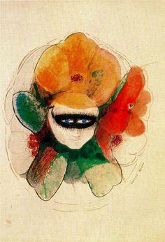Odilon Redon (French: 1840–1916), [Post-impressionism, Symbolism] The Masked Anemone.