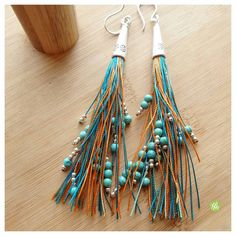 Colorful extra long fringe earrings with by FromRONIKwithLove
