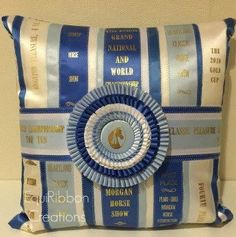 Ribbon Pillow  The King  Made to Order  by EquiRibbonCreations