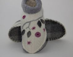 womens handmade upcycled white grey pink wool floral slippers