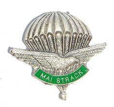 Distintivo del 4° Reggimento Alpini Paracadutisti con motto: Mai Strack. Italian Army, Flag Patches, Paratrooper, Badges, Wings, World, Climbing, Name Badges, Badge