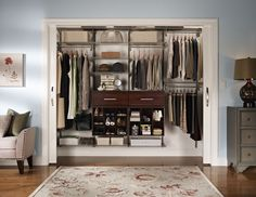 closet idea - PUT MORE DRAWERS where the shoes r - i would put a couple laundry baskets in the space below for dirty laundry so i can sort it when it gets dirty instead of putting it in one pile (its just easier to do laundry when its already sorted) - i would leave the left side of the shelves out (the large space for the hangers) since i have a small space to work with