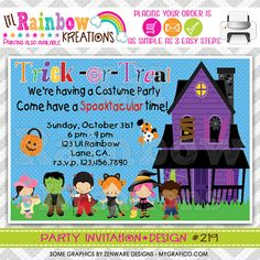 219 DIY Halloween 13 Party Invitation Or Thank by LilRbwKreations