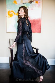 I love the idea of a silk robe or gown with a sheer godet or inset 69c4646b7