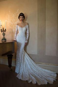 trumpet/mermaid long sleeves lace backless wedding dress