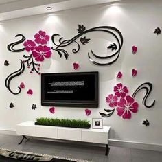 New arrival Flower vine acrylic crystal three-dimensional wall stickers Bedroom Background wall sofa wall DIY wall stickers Flower Wall Stickers, Wall Stickers Home Decor, Acrylic Wall Panels, Decorating With Pictures, 3d Wall, Wall Art, Living Room Bedroom, Wall Design, Three Dimensional