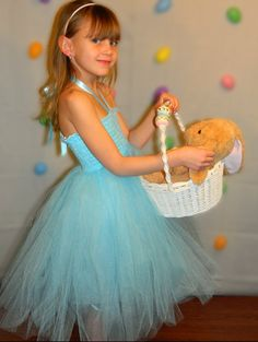 Easter tutu dress. Light blue, satin lined, sewn tutu dress on Etsy, $36.00