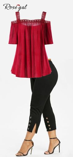 Free shipment worldwide, Rosegal plus size Cold Shoulder Blouse - Red Wine and Plus Size Grommet Cropped Pants - Black Curvy Outfits, Plus Size Outfits, Casual Outfits, Fashion Outfits, Casual Dresses, Maxi Dresses, Trendy Plus Size Clothing, Plus Size Fashion, Plus Size Sommer
