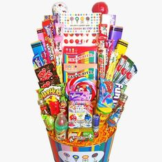 Dylan's Candy Bar Party in a Bucket from Dylan's Candy Bar. Saved to Things I want as gifts. Dylan's Candy, Candy Bar Party, Sour Candy, Candy Gifts, Candy Gift Baskets, Giant Candy, Thing 1, Candy Bouquet, Ice Cream Party