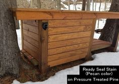 Ready Seal Pecan Stain Color on Pressure Treated Wood Table image Pine Stain Colors, Deck Stain Colors, Stain On Pine, Wood Colors, Exterior Wood Stain, Fence Stain, Staining Pressure Treated Wood, Best Deck Stain, Semi Transparent Stain