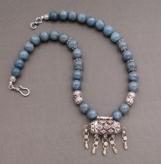 Antique Silver Mergaf Pendant with Natural Blue Coral