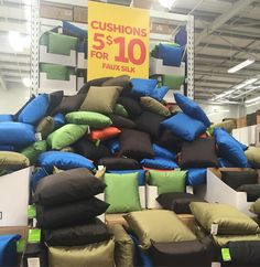 5 cushions for $10! What a #bargain. With removable cover washable cover. A great buy even if you need new cushion fillings.  These would be great for outdoor living spaces. 40x40cm the 'faux silk' is polyester. . . . .  #cushions #homedecor #softfurnishings #bargainbuy #masters #whypayfullprice #smartshopper #savvysaver #jul16