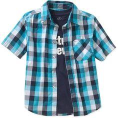 Faded Glory Boys Short Sleeve Woven Shirt with Graphic Tee - Walmart.com